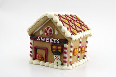Gingerbread house. On white background Royalty Free Stock Photo