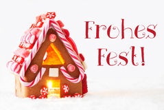 Gingerbread House, White Background, Frohes Fest Means Merry Christmas Stock Image