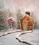 Fantasy winter landscape with a candy house royalty free illustration