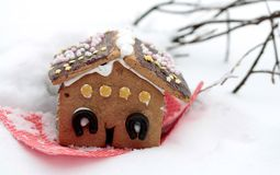 Gingerbread house in wintry landscape Royalty Free Stock Photography