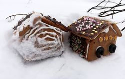 Gingerbread house in wintry landscape Stock Photo