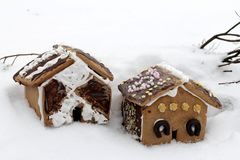 Gingerbread house in wintry landscape Royalty Free Stock Image