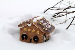 Gingerbread house in wintry landscape Stock Image