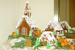 Gingerbread Houses. If you've hit the gingerbread houses, you're at the end of the buffet line Royalty Free Stock Photos