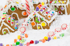 Gingerbread Houses and Candy Cane with Snow Royalty Free Stock Images