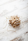Gingerbread icing cookies with gold cord. Stock Photo