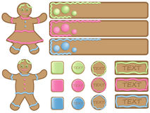 Gingerbread icons and banners. In green, blue and pink colours for webdesign Stock Image