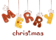 Gingerbread inscription - Merry Christmas Stock Image