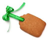 Gingerbread Label Cookie with Ribbon Bow Isolated on White Backg Stock Images
