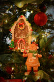 Gingerbread lady & House Ornaments Stock Photos