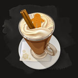 Gingerbread latte with whipped cream, cinnamon and gingerbread Christmas cookies royalty free illustration