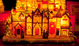 Gingerbread-like house lit up from the inside Stock Image