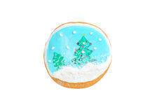 Gingerbread like snow globe with christmas trees and snowflakes isolated on white Royalty Free Stock Photography