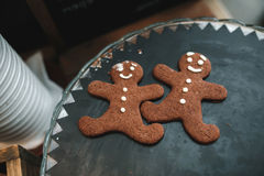 Gingerbread made with own hands. Vintage toned stock photo