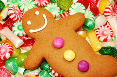 Gingerbread man. And christmas candy Royalty Free Stock Photography