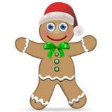 Gingerbread Man. With Santa Hat vector illustration