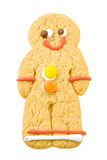 Gingerbread man. Smiling gingerbread man with buttons and cute  brown eyes Stock Image