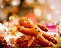 Gingerbread Man. Christmas Holiday Food. Christmas Table Setting Stock Images
