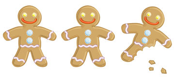 Gingerbread man. Three Gingerbread man isolated on white bachground Royalty Free Stock Photography