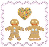 Gingerbread man. And gingerbread girl in love Stock Photography
