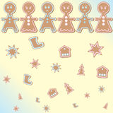 Gingerbread man background. Abstract gingerbread star house tree shoos Christmas family hand made  background   illustration Stock Photos