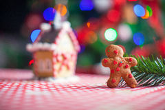 Gingerbread man background candy ginger house and Royalty Free Stock Images