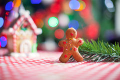 Gingerbread man background candy ginger house and. Christmas tree lights. See my other works in portfolio stock images