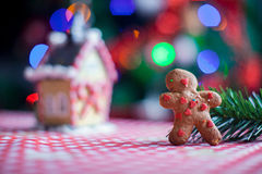 Gingerbread man background candy ginger house and Stock Photos