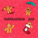 Gingerbread man. Background of the gifts Stock Image