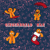 Gingerbread man. Background of the gifts Royalty Free Stock Photography