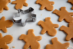 Gingerbread man baking Stock Images