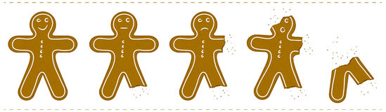 Gingerbread Man Being Eaten Royalty Free Stock Photography
