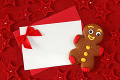 Gingerbread man and blank card Royalty Free Stock Photography