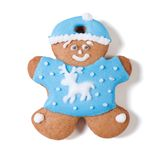 Gingerbread man in a blue coat and hat with a deer Royalty Free Stock Photo