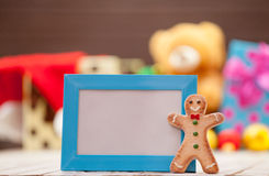 Gingerbread man with blue frame Royalty Free Stock Photo