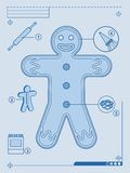 Gingerbread man blueprint Stock Photo