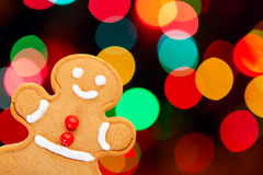 Gingerbread Man with Bokeh Royalty Free Stock Photo