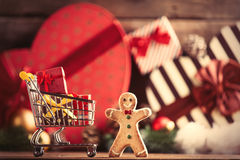 Gingerbread man and cart Royalty Free Stock Images