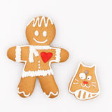 Gingerbread man and a cat Royalty Free Stock Photography