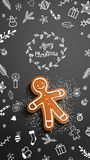 Gingerbread man with chalk doodles on black background. Christmas theme, gingerbread man lying on blackboard with chalk doodle and text Merry Christmas, mobile vector illustration