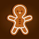 Gingerbread man character cookie regular on a brown background stock illustration