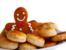 Gingerbread man and cheese cookies in plate Stock Photo