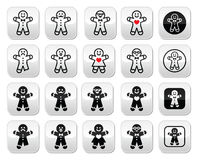 Gingerbread man Christmas buttons set Royalty Free Stock Image