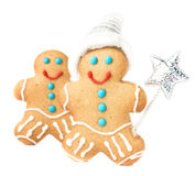 Gingerbread Man Christmas Cookie with Santa hat and magic stick Stock Images