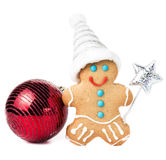 Gingerbread Man Christmas Cookie with Santa hat, magic stick and Royalty Free Stock Image