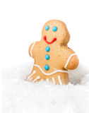 Gingerbread Man Christmas Cookie in a snow on white background, Stock Photo