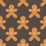 Gingerbread man. Christmas cookies. Seamless pattern. Vector illustration royalty free illustration
