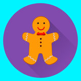 Gingerbread man. Christmas cookies, on violet and blue background. Flat vector illustration royalty free illustration