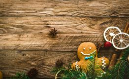Gingerbread man in Christmas decor stock images