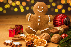 Gingerbread man with Christmas decorations Royalty Free Stock Photography